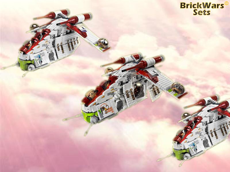 BrickWars-Sets: Republic Gunship Approach | Lego Star Wars FREE ...